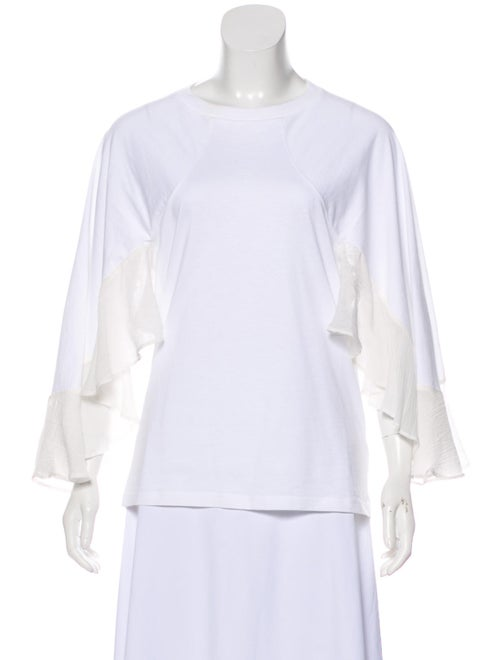 Chloé Ruffled Crew Neck Blouse White