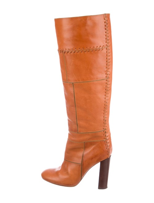 Chloé Patchwork Leather Knee-High Boots Tan