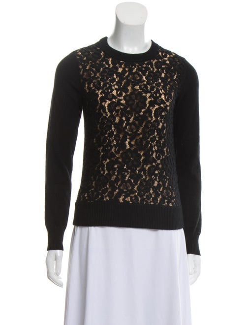 Chloé Virgin Wool Lace Sweater Black