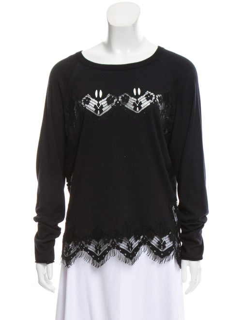 Chloé Lace Embellished Sweater Blue