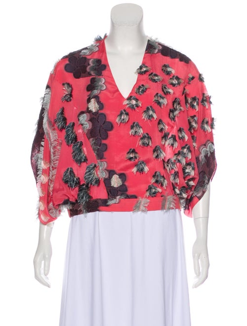 Chloé Fringe-Accented Silk Blouse Pink