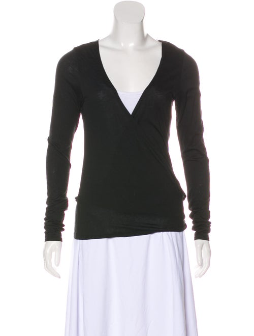 Chloé Long Sleeve Wrap Top Black
