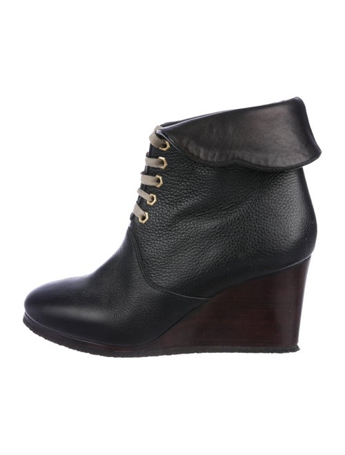 Chloé Leather Wedge Booties Black
