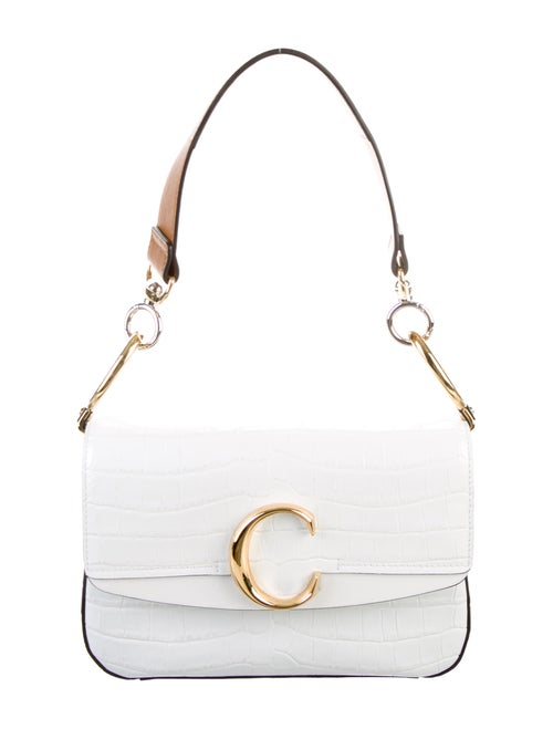 Chloé C Embossed Leather Satchel White