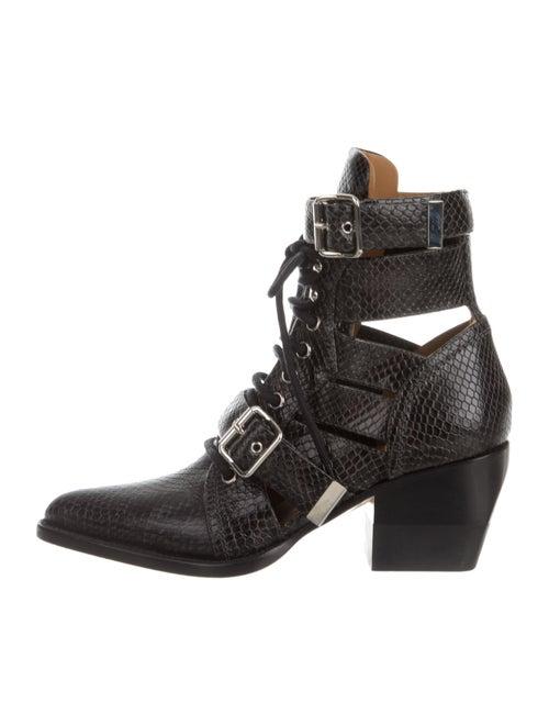 Chloé Rylee Snakeskin Boots Black