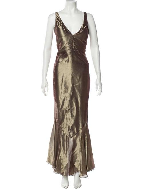 Chloé Plunge Neckline Long Dress Gold