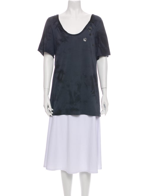 Chloé Tie-Dye Print Scoop Neck T-Shirt Green