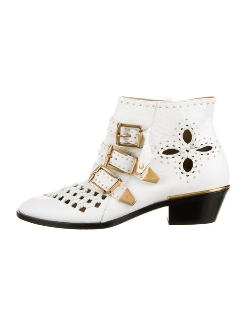 Chloé Leather Studded Ankle Boots White