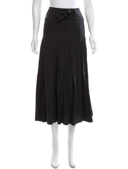Chloé Silk Pleated Midi Skirt Black