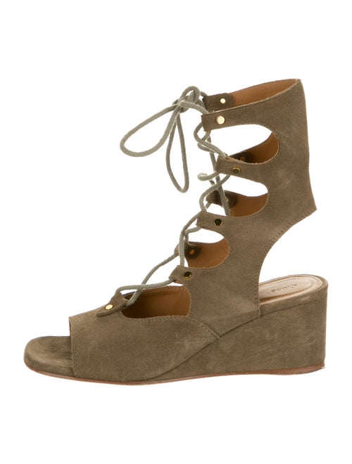 Chloé Suede Wedge Sandals green