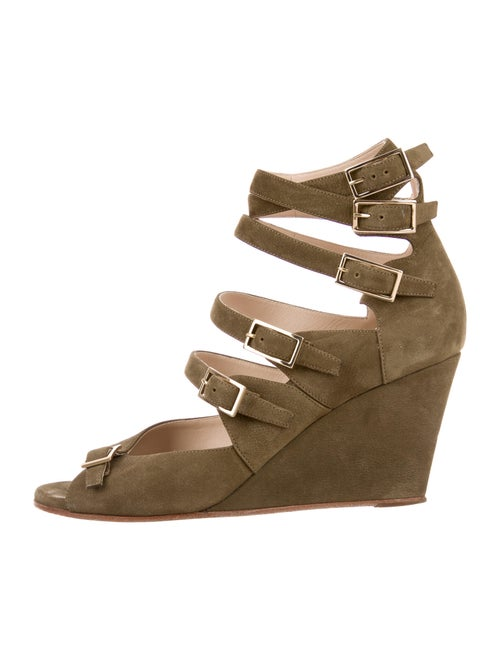 Chloé Suede Caged Wedges Green