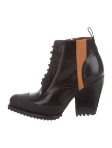Chloé Leather Colorblock Pattern Lace-Up Boots