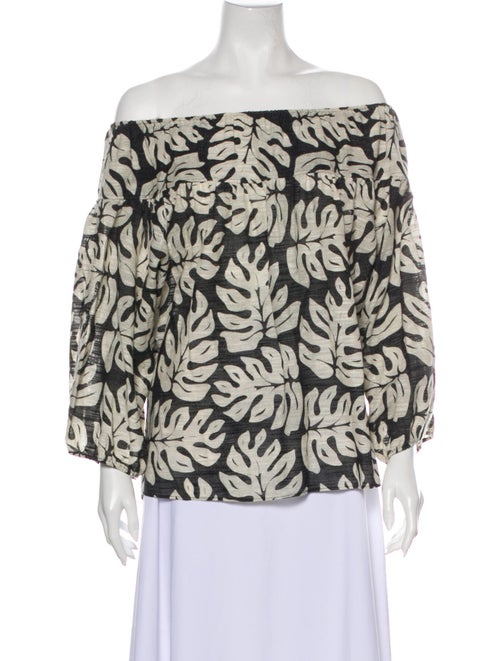 Chloé Printed Off-The-Shoulder Blouse