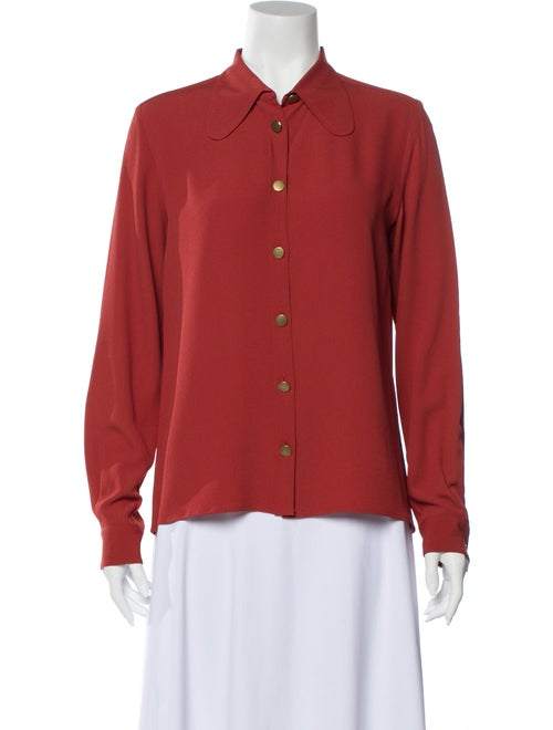 Chloé Long Sleeve Button-Up Top Red