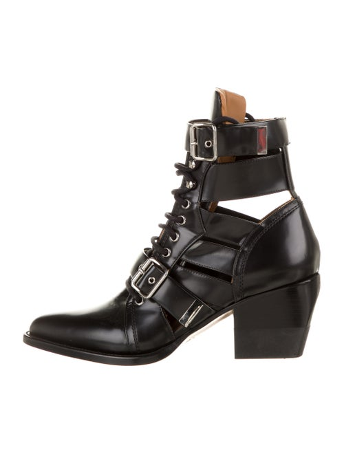 Chloé Leather Lace-Up Boots Black