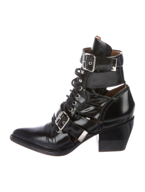 Chloé Leather Lace Pattern Lace-Up Boots Black