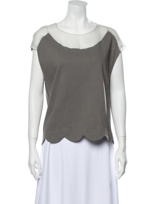 Chloé Scoop Neck Short Sleeve T-Shirt Grey - image 1