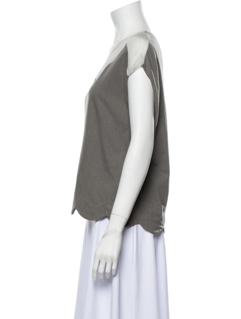 Chloé Scoop Neck Short Sleeve T-Shirt Grey - image 2