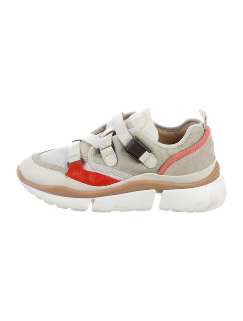 Chloé Colorblock Pattern Chunky Sneakers Red