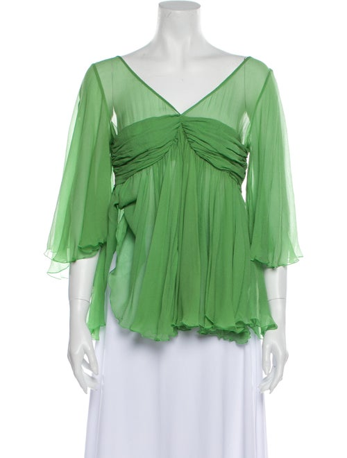 Chloé Silk V-Neck Blouse Green
