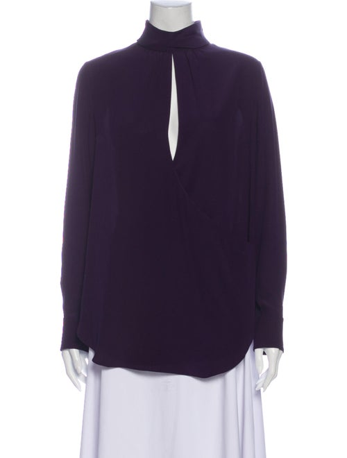 Chloé Silk Mock Neck Blouse Purple