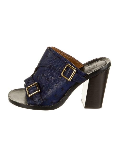 Chloé Ostrich Slides Blue