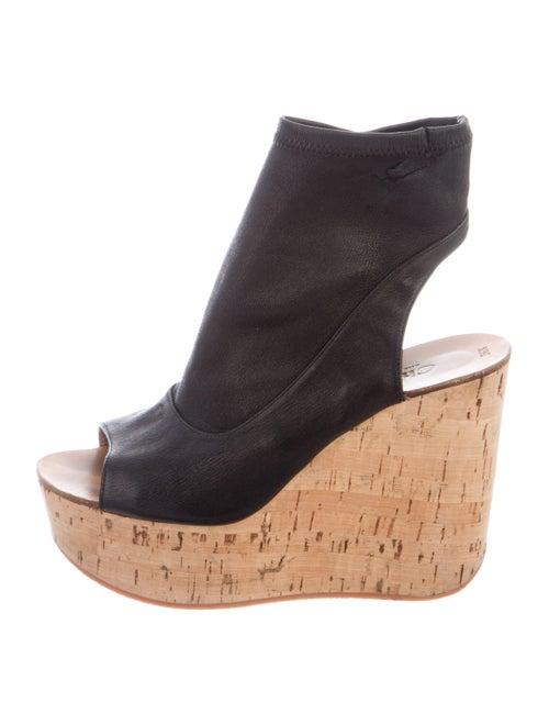 Chloé Leather Platform Wedges Black