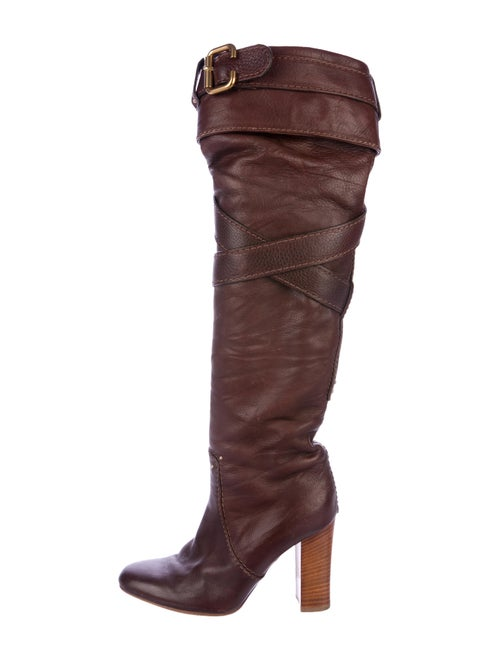 Chloé Leather Knee-High Boots brown