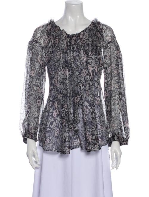 Chloé Silk Floral Print Blouse Grey