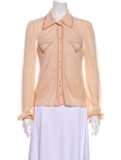 Chloé Silk Long Sleeve Button-Up Top