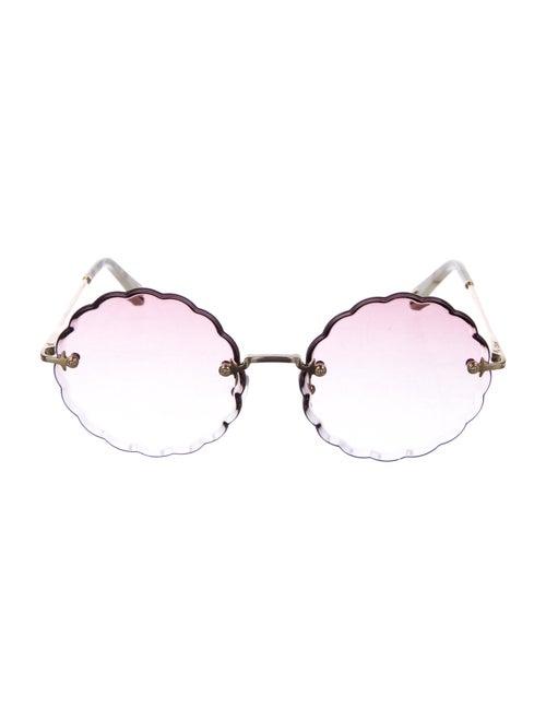 Chloé Scallop Rimless Sunglasses gold