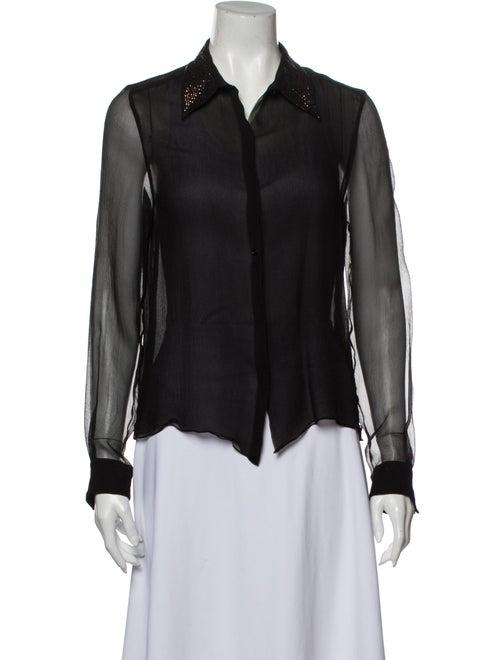 Chloé Long Sleeve Button-Up Top Black