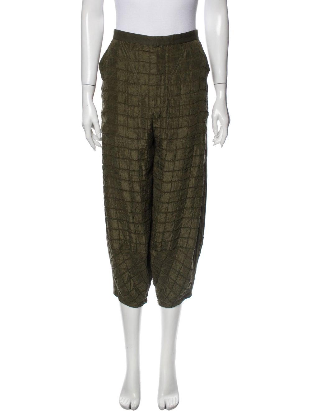 Chloé Plaid Print Straight Leg Pants Green - image 1