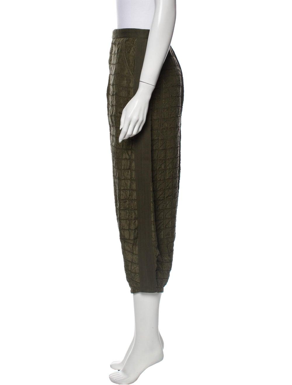Chloé Plaid Print Straight Leg Pants Green - image 2