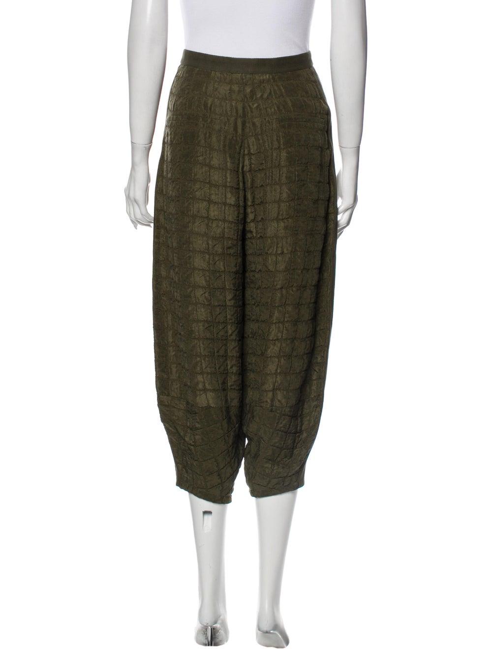 Chloé Plaid Print Straight Leg Pants Green - image 3