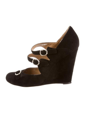 Chloé Suede Buckle Wedges None