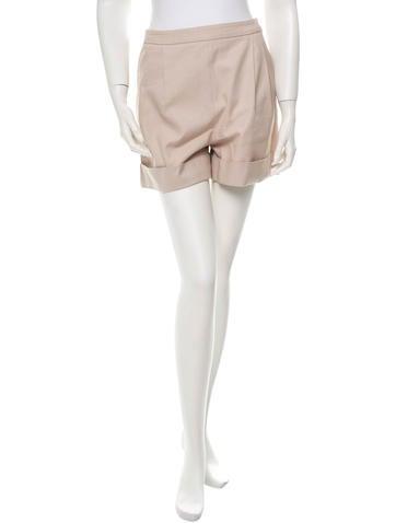 Chloé Pleated Khaki Shorts