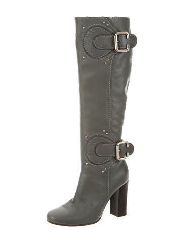 Leather Buckle-Embellished Boots