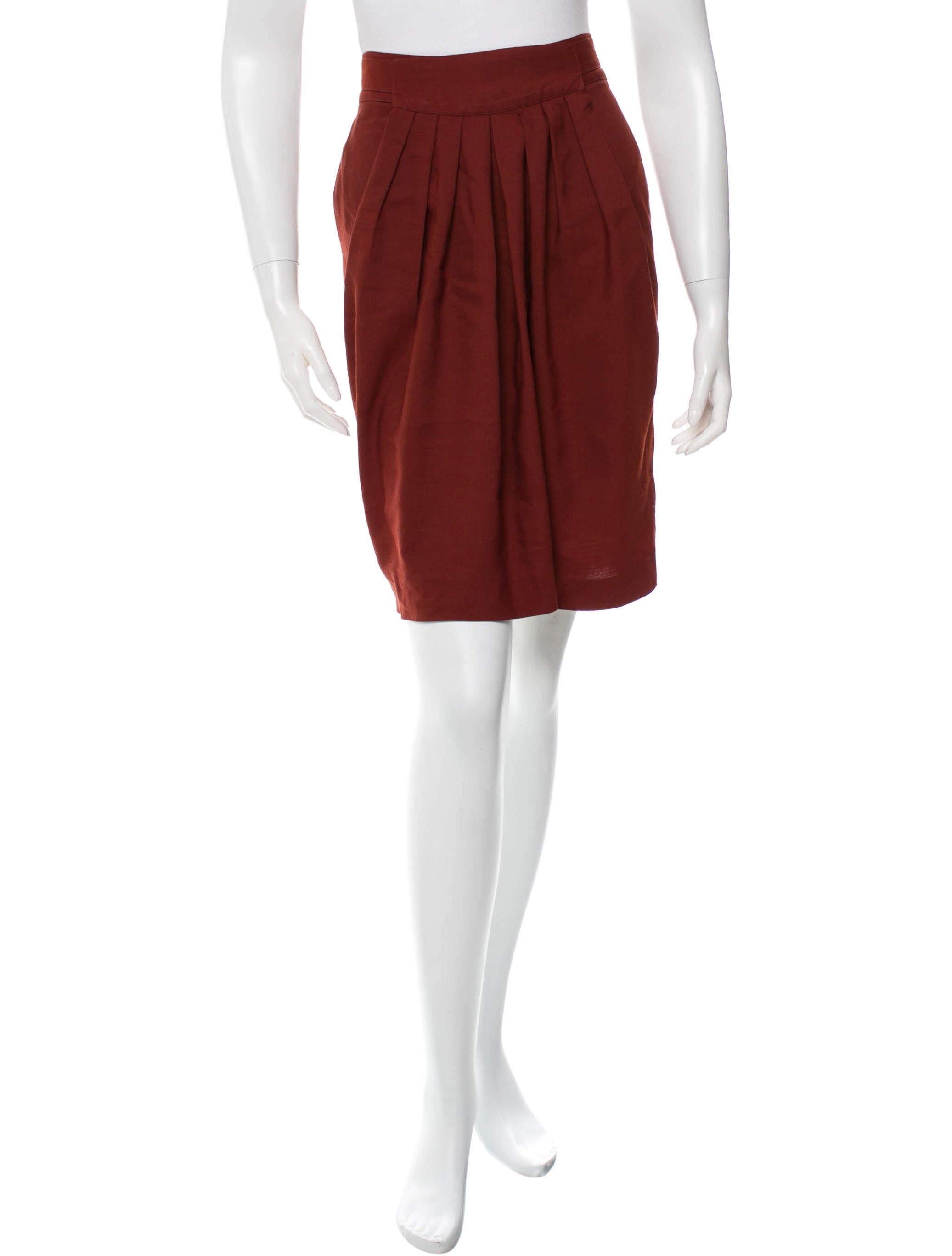 chlo 233 pleated knee length skirt clothing chl38999