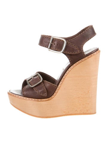 Chloé Leather Platform Wedges None