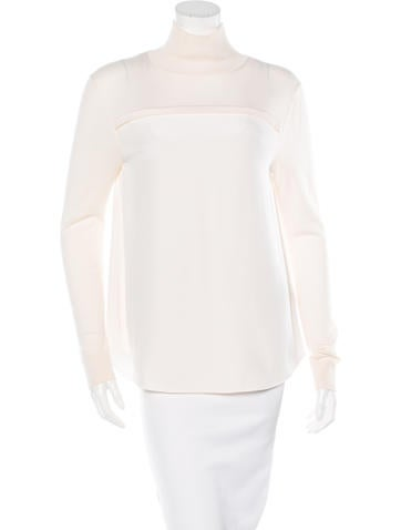 Chloé Silk & Wool Turtleneck Top None