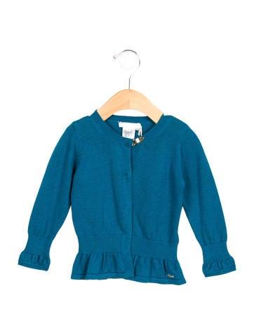 Chloé Girls' Long Sleeve Rib Knit-Trimmed Cardigan w/ Tags None