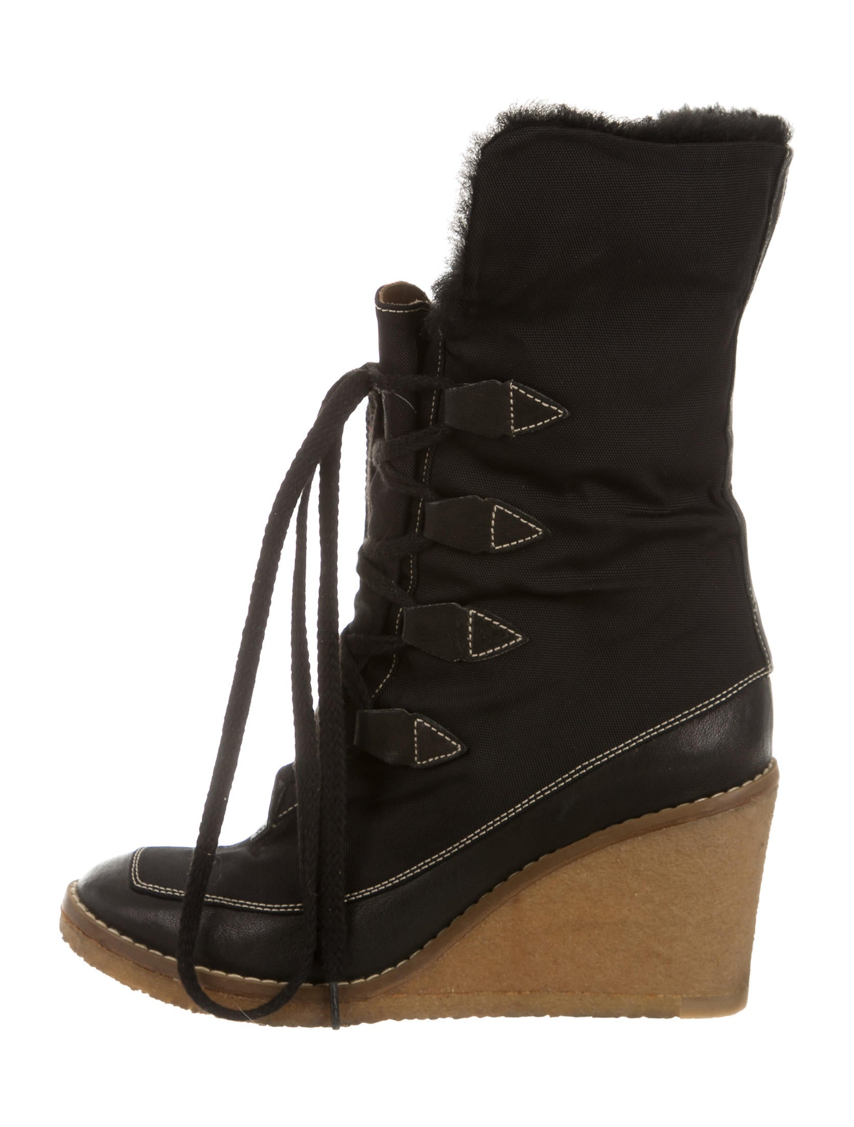 chlo 233 shearling lined wedge ankle boots shoes chl47322