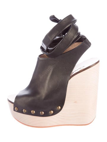 Chloé Leather Peep-Toe Wedges None