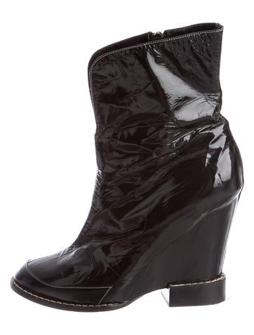 chlo 233 patent leather wedge ankle boots shoes chl48731