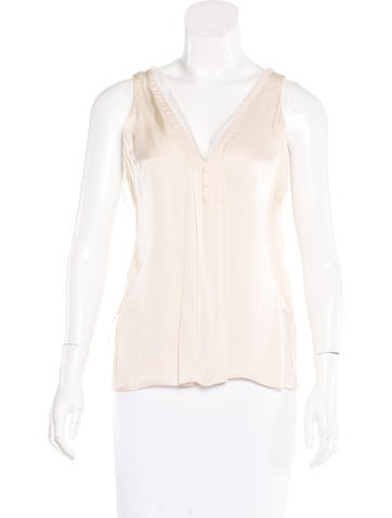 Chloé Lace-Trimmed Silk Top None
