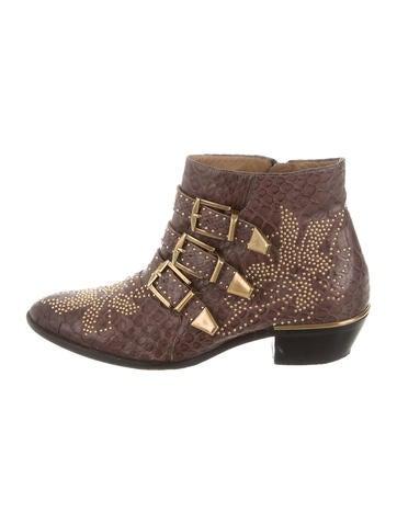 Chloé Python Susanna Ankle Boots