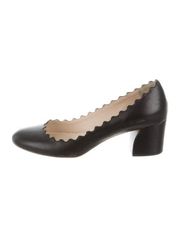 Chloé Leather Scalloped Pumps