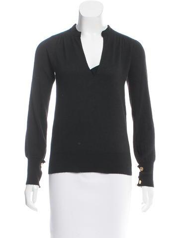 Chloé Silk-Trimmed Cashmere Sweater None