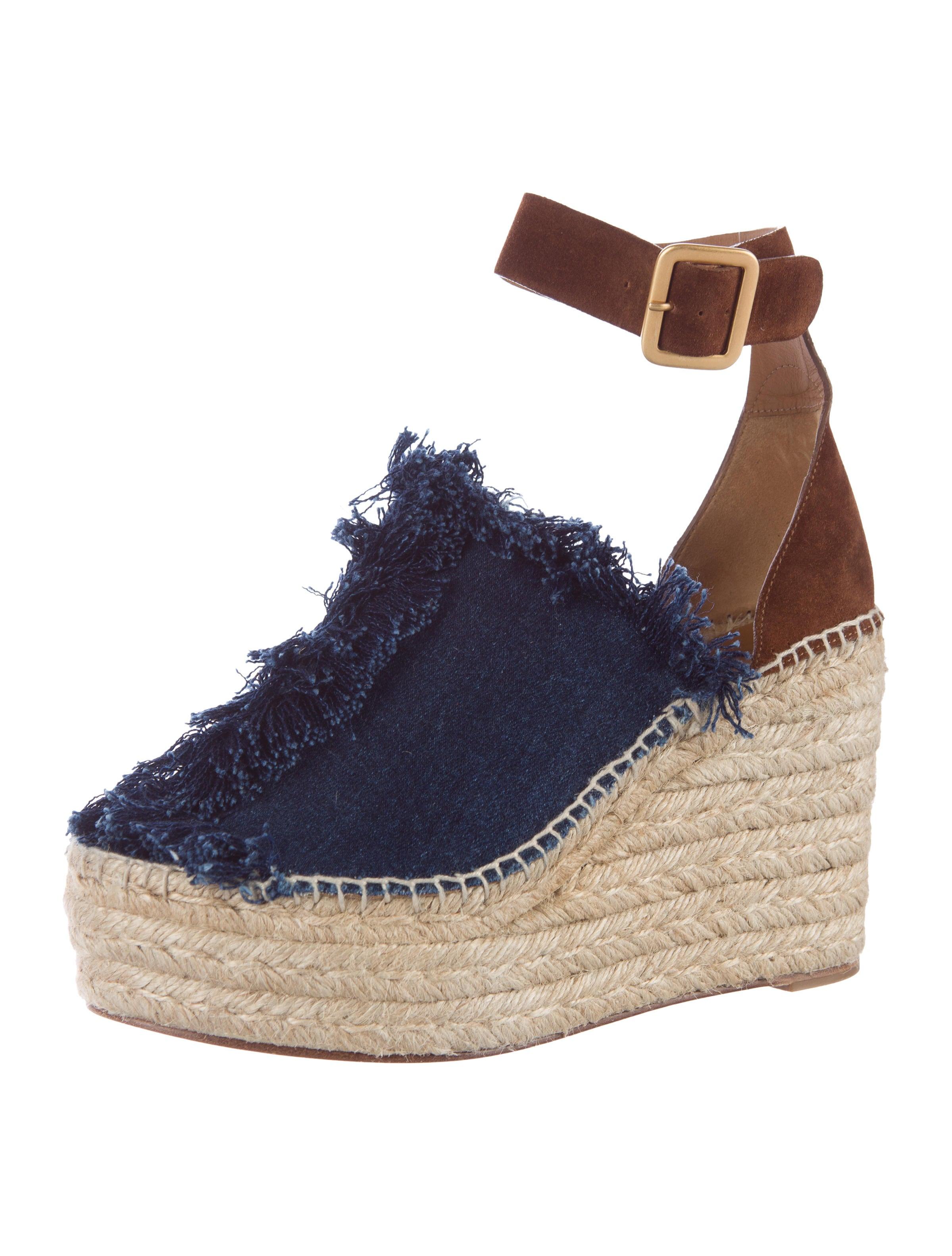 Chloé Denim Espadrille Wedges - Shoes